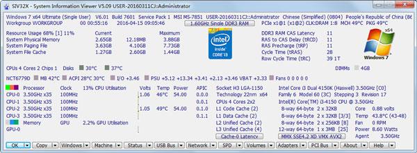 SIVx32-System Information Viewer(检测工具) V5.09 绿色版